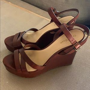 Cole Haan cognac leather platform sandals
